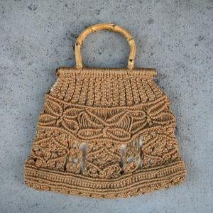 Handbags - Vintage 70s brown straw crochet bag purse bamboo